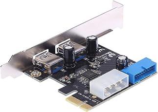 KKmoon SuperSpeed 2-Port USB 3.0 PCIe-Erweiterungskarte PCI-E PCI Express 19-polige USB3. 0 4-poligen IDE-Anschluss Low-Profile