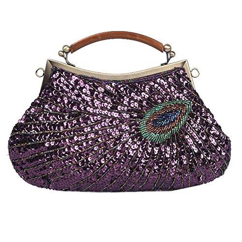 frauen abendtasche pfau antik perlen pailletten dinner party clutch taschen geldbörse. 28 x 20 cm purple