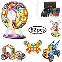 82 Pezzi Piastrelle magnetiche Blocchi di costruzione Giocattoli educativi impostati per i bambini, da set di costruzione di costruzione Morcare (82 pcs)