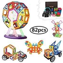 82 Pezzi Piastrelle magnetiche Blocchi di Costruzione Giocattoli educativi impostati per i Bambini,