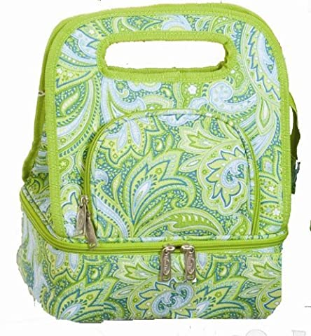 Picnic Plus Savoy Insulated Lunch Tote, Green Paisley by Spectrum
