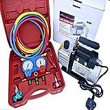 AC Refrigeration Kit A/C Manifold Gauge Air Vacuum Pump HVAC Combo 3CFM ¼ HP