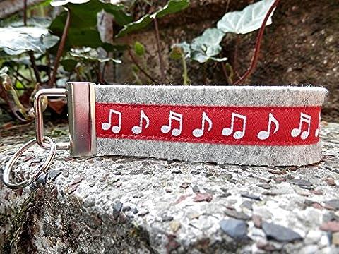 Schlüsselanhänger Schlüsselband Wollfilz hellgrau Noten Musik rot weiß!