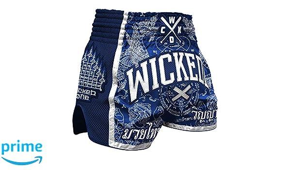 Wicked One Muay Thai Shorts Dragon Thai Wei/ß Thaiboxen Short traditionelle Thaiboxhose f/ür Herren mit Air-Flow-Gewebe