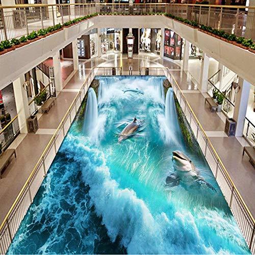 rylryl PVC Wasserdichte 3D Bodenfliesen Tapeten Aufkleber Wasserfälle Dolphins Murals Mall Outdoor Badezimmer Boden Tapete-250x175cm