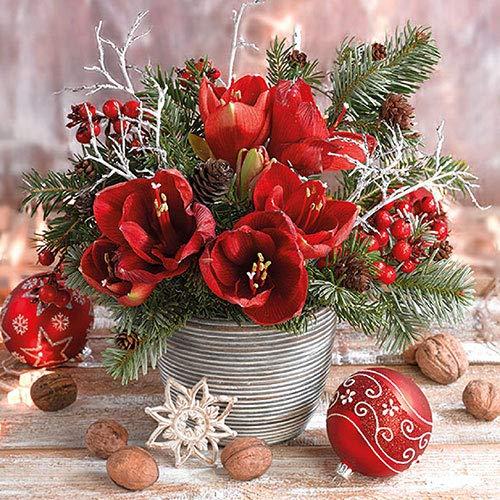 Ambiente Papier Servietten Christmas Amaryllis Bouquet Für Cocktail Fest Party ca. 25x25cm Weihnachten Herbst Winter