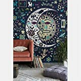 Boho Psychedelic Elephant Tree of Life Floral Tapestry Hippy Mandala Gypsy Wall Hanging Sheet Coverlet Picnic blanket Bedspread Curtain Decor Table Couch Cover Beach Yoga Throw (L, Z)