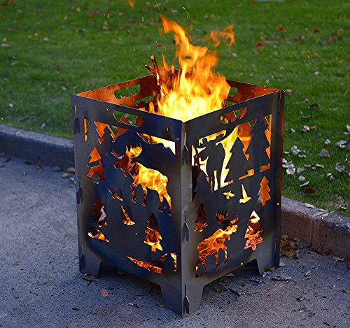 Large Fire Pits MOOSE Incinerator Barrel for Patio Camping Outdoor Backyard Bonfire Large 21 x 21 x 27 inches (MOOSE)