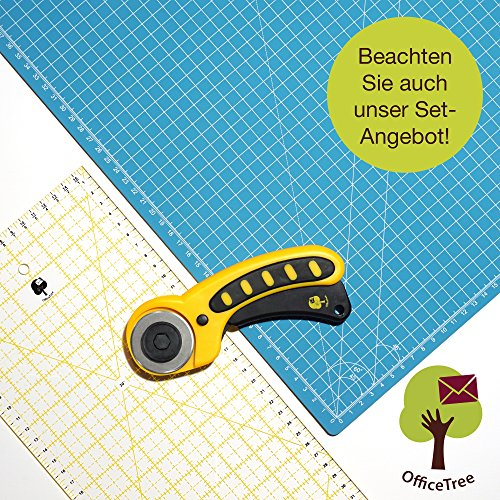 OfficeTree Set Schneidematte - 90x60 cm (A1) blau + Rollschneider + Lineal 60x16 cm - Premium-Qualität - für professionelle Schnittarbeiten -