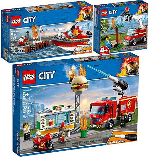 LEGO® City 3er Set 60212 60213 60214 Feuerwehr beim Grillfest + Am Hafen + Feuerwehreinsatz im Burger-Restaurant