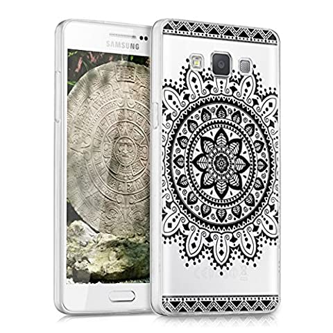 kwmobile Crystal Case Cover for Samsung Galaxy A5 (version 2015) with IMD design and TPU silicone frame with synthetic back - transparent soft mobile protective case bumper Design Aztec flower