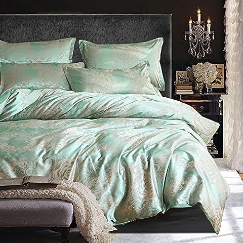 HEISHUAILEI Viscose Jacquard Satin 4 Stück 1,8 m Betten Continental Hochzeit 4 Stück Bettwäsche Doppel 1,5 m Kit,