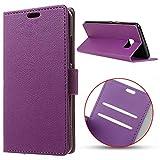 MSK® Schutzhülle HTC U Ultra Hülle, Handyhülle Klappetui Brieftasche HTC U Ultra Ledertasche - [Kartenfächer] [Standfunktion] [Brieftasche] Schutzhülle Tasche mit Kartenfach Aufstellfunktion Magnetverschluss- lila