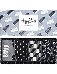 Happy Socks Homme Paquet de 4 Optic Socks Gift Box, Gris