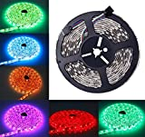 ALED LIGHT Tira de Luz Impermeable IP65 LED Strip RGB 5M 5050 SMD Cinta LED 300 (60 LED/Metro) + 44 Mando a Distancia Clave + Adaptador de Corriente 12V 5A + Receptor + Descripción del Producto