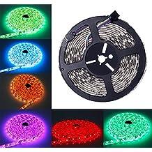 ALED LIGHT Tira de Luz Impermeable IP65 LED Strip RGB 5M 5050 SMD Cinta LED 300 (60 LED/Metro) + 44 Mando a Distancia Clave + Adaptador de Corriente 12V 5A + Receptor + Descripción del