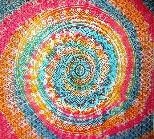 Traditional Jaipur Groß Ombre Mandala Wandteppich, indisches Batik Wandbehang Hippie, Schlafsaal, Raum Dekorationen Bohemian Betten, Gypsy Beach Decke, Boho Picknick Überwurf -