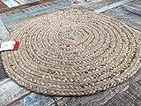 Second Nature Klein 60cm Rund Beige Teppich Geflochten Natur Jute