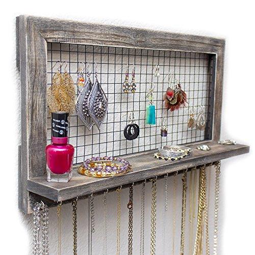 Organizer per gioielli da parete con mensola da socal buttercup – espositore, portagioie vintage in legno per orecchini, collane, bracciali, anelli, profumi, make up – ottima idea regalo da donna