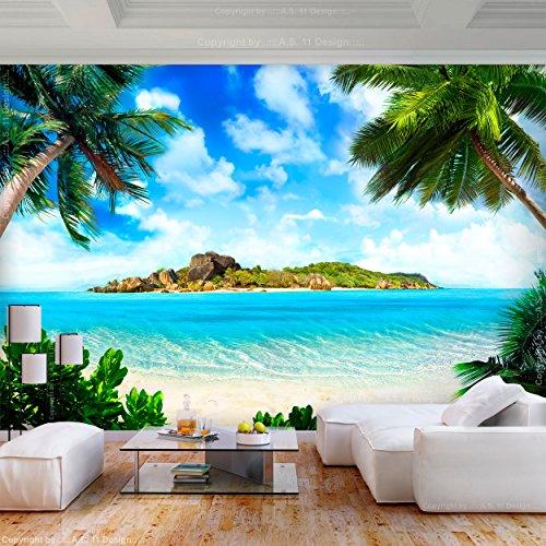 decomonkey | Fototapete Strand 400x280 cm XL | Tapete | Wandbild | Wandbild | Bild | Fototapeten | Tapeten | Wandtapete | Wanddeko | Wandtapete | Insel Meer Palmen Sonne Natur Landschaft