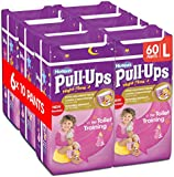 Huggies Pull-Ups Girls Night Time Pants Convenience Pack, Large - 6 Packs (10 Pants Per Pack, 60 Pants Total)