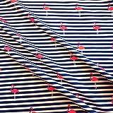 Stoff Baumwolle Jersey Meterware gestreift blau weiß Flamingo pink Streifen