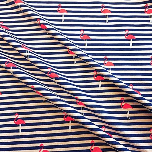 (Stoff Baumwolle Jersey Meterware gestreift blau weiß Flamingo pink Streifen)