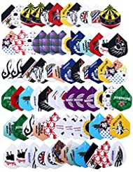 Beautyrain 72pcs 2D Cool Bling Standard Dart Vols Vol d'aile de fléchettes arbres Sports de plein air
