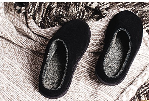 &zhou In autunno e inverno, Pantofole, uomini, in cotone, morbido, comodo, caldo, insapore, peluche, spessa, antiscivolo Black