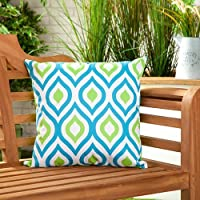 """Shopisfy Pack of 2 Outdoor Water Resistant Filled 18"""" Scatter Cushion for Garden Furniture, Geometric Aqua/Lime Design"""