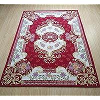 YSHUO Carpet European Royal Style Bedroom Vintage Floral Room Floor Mats Non-Slip Living Room