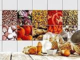 GRAZDesign 770343_15x15_FS10st Fliesen-Aufkleber Set Gewürze, Gemüse und Nüsse | Küchen-Fliesen mit Folie überkleben (15x15cm//Set 10 Stück)