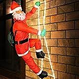 Deuba Weihnachtsmann auf Leiter | XXL 240cm | Innen und Außen | 8 Leuchtfunktionen | Santa Claus Nikolaus Figur Deko Weihnachten LED
