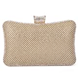 BAIGIO Ladies Sparkly Crystal Diamante Evening Bag Wedding Clutch Party Bag Womens Handbag (Gold)