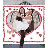 Hochzeitsherz zum Ausschneiden für das Brautpaar. Komplettset PORTOFREI: Laken zum Ausschneiden mit Herzmotiv inkl. 2 Scheren. Braut & Bräutigam schneiden das Herz aus und durchschr