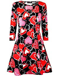Be Jealous Women Ladies Valentines Day Love Heart Flared Round Neck Franki Swing Mini Dress UK Plus Size 8-26