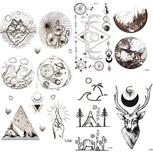 Mann Mountain Kostüm - Temporäre Tätowierung Kleine Runde Dreieck Sterne Mond Tattoo-Aufkleber Männer Mountain Planet Universum Fake Tattoo Frauen Körper Arm Art Tatto Hand