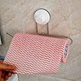 TOUA Strong Chrome Stainless Steel Self Adhesive Suction Cup Roll Paper Holder Wall Mounted Bathroom Toilet Paper Towel Holder Hanger