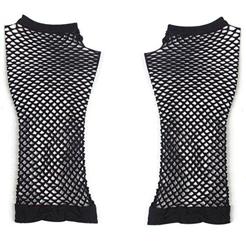 etz Elbow Fingerlose Gothic elastischem Mesh Paar Armstulpen für Frauen, schwarz (Schwarz Mesh Fingerlose Handschuhe)