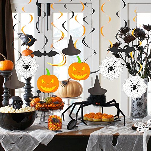 Halloween Hängende Dekoration Girlanden, Swirl Kürbis Spider Fledermäuse Hexe Hat für (Haunted Halloween House Happy)