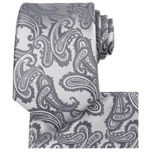 Kissties - Juego de corbata, pañuelo de bolsillo cuadrado y caja de regalo para hombre gris gris Estándar