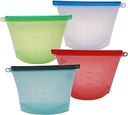Sac de Rangement en Silicone réutilisable - Joint étanche à l'air | Eco Friendly (Lot DE 4) Avec emballage alimentaire en Silicone gratuit