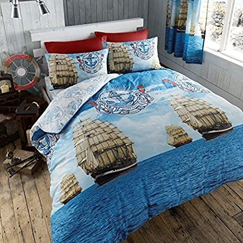 Sail Boat Complete Bed Set Duvet Quilt Cover, Fitted Sheet