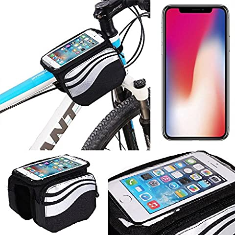 For Apple iPhone X: Cycling Frame Bag, Head Tube Bag, Front Top Tube Frame Pannier Double Bag Pouch Holder Crossbar Bag, black-silver water resistant -