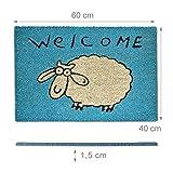 Relaxdays Fußmatte Kokos SCHAF 40 x 60 cm Kokosmatte mit rutschfester PVC Unterlage Fußabtreter aus Kokosfaser als Schmutzfangmatte und Sauberlaufmatte Fußabstreifer für Außen und Innen Matte, blau Vergleich