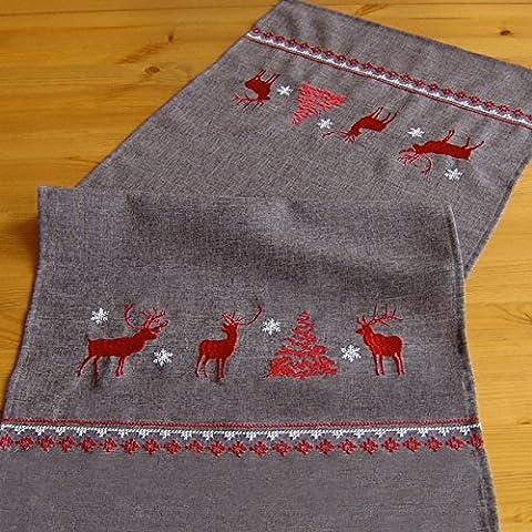 Weihnachten in grau rot liebevoll bestickt mit