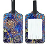 Lizimandu PU Leather Luggage Tags Suitcase Labels Bag Travel Accessories - Set of 2 (Blue Flower)