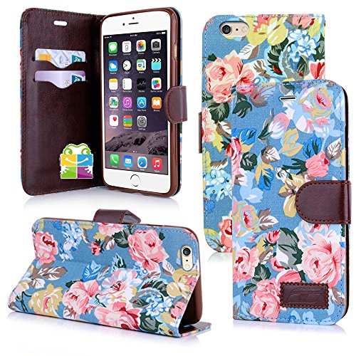 Apple iPhone 6 Handyhülle inklusive Displayfolie Lila Blumen Design 18