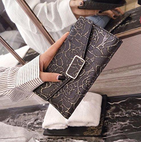 Portafoglio Donna, Tpulling 2pcs moda donne portafoglio frizione titolare della carta borsa + borsa piccola (White) Black
