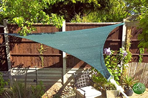 Shade Sail Sun Canopy 3.6m Forest Green Solex Triangular Shade Sail Commercial Grade breathable UV treated